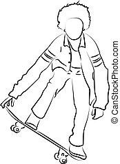 白, バックグラウンド。, ベクトル, イラスト, スケート, 男の子