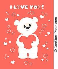 白, バレンタイン, 珊瑚, カード, テディ