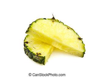 白, パイナップル, 背景, に薄く切る
