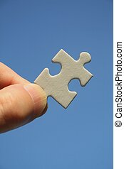 白, パズル小片, 中に, 人間の術中