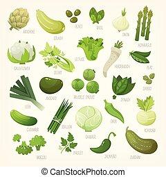 白, フルーツ, 緑, vegetables., 変化