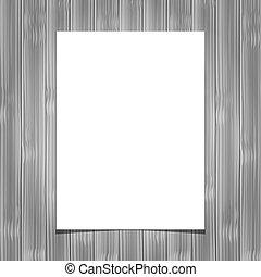 白, ブランク, ペーパー, シート, 上に, 木製である, 背景