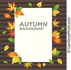 白, ブランク, ペーパー, 上に, 秋, 背景, ∥で∥, 別, 種類, の, 葉