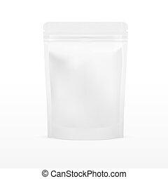 白, ブランク, ホイル, 食物, doy, パック, 立ち上がりなさい, 袋, 袋, 包装, ∥で∥, zipper., イラスト, 隔離された, 白, バックグラウンド。, mock, の上, mockup, テンプレート, 準備ができた, ∥ために∥, あなたの, design.