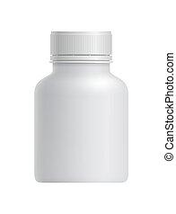 白, ブランク, 容器, 薬, プラスチック