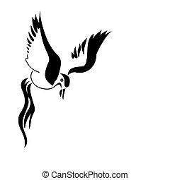 白, ベクトル, シルエット, 鳥, 背景