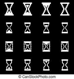 白, ベクトル, セット, 砂時計, アイコン