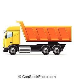 白, ベクトル, トラック, 隔離された, ゴミ捨て場