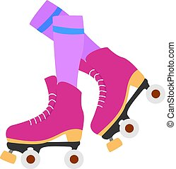 白, ベクトル, ローラー, イラスト, バックグラウンド。, ピンク, スケート