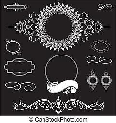 白, ベクトル, 装飾, セット
