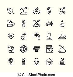 白, ベクトル, 隔離された, アウトライン, バックグラウンド。, illustration., エコロジー, icon.