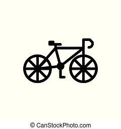 白, ベクトル, 隔離された, アウトライン, 自転車, バックグラウンド。, illustration., icon.