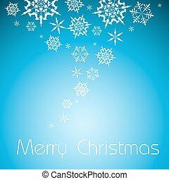 白, ベクトル, 雪片, 背景, クリスマス