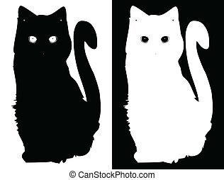 白, ベクトル, 黒い背景, cats.
