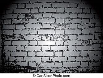 白, ベクトル, 黒, れんが, wall.
