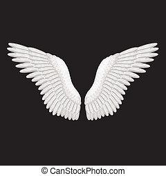 白, ベクトル, 黒, 翼, イラスト