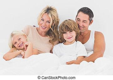 白, ベッド, あること, 家族