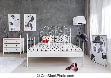 白, ベッド, 寝室