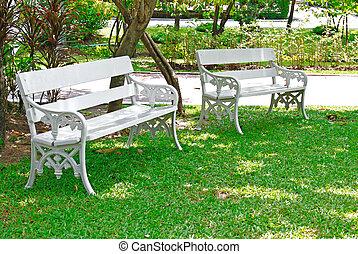 白, ベンチ, 庭, 2