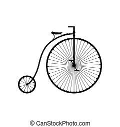 白, ペニー, 自転車, 古い, 車輪, 自転車, 隔離された, 背景, 高く, bike., 型, farthing, illustartion, ベクトル, アイコン, レトロ