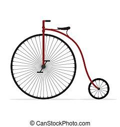 白, ペニー, 自転車, 古い, 車輪, 自転車, 隔離された, 背景, 高く, bike., 型, farthing, illustartion, ベクトル, レトロ