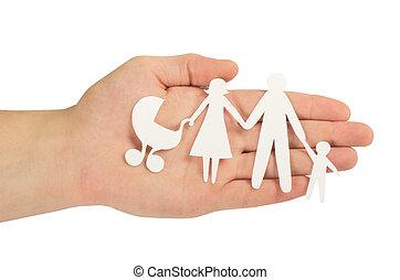 白, ペーパー, 隔離された, 家族, 手