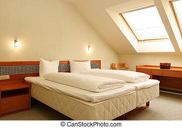 白, ホテルの部屋, ベッド