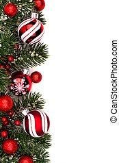 白, ボーダー, 安っぽい飾り, 赤, クリスマス
