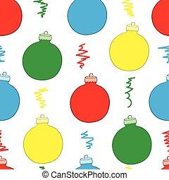 白, ボール, seamless, クリスマス