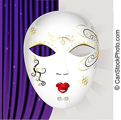 白, マスク, カーニバル
