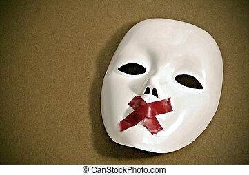 白, マスク, 無声