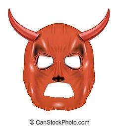 白, マスク, 隔離された, 赤, 角