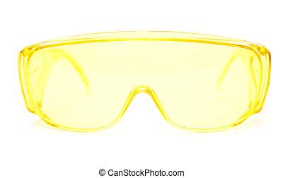 白, メガネ, 保護である, 背景
