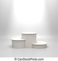 白, ラウンド, 空, podium.