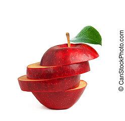 白, ラウンド, 赤, 切口, 隔離された, アップル, 緑, に薄く切る, 葉
