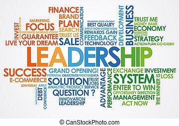 白, リーダーシップ, 単語, 雲, 背景