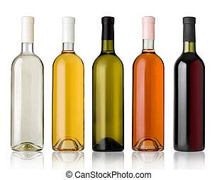 白, ワイン, セット, bottles., 赤は 上がった