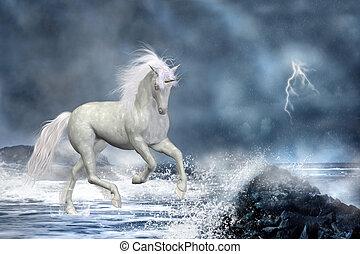 白, 一角獣