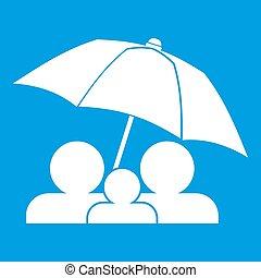 白, 下に, 傘, 家族, アイコン