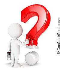 白, 人々, 質問, 3d, 印