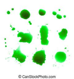 白, 低下, 緑の背景