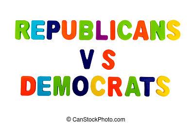 白, 共和党員, テキスト, 背景, ∥対∥, 民主主義者