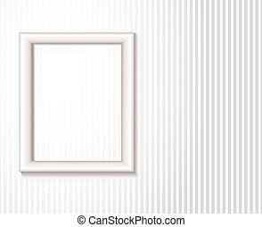 白, 写真フレーム, 上に, 壁