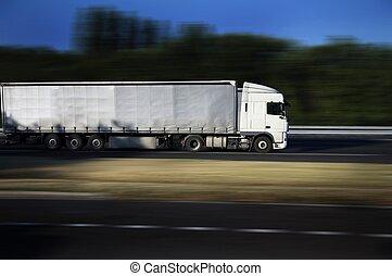 白, 半トラック, 上に, ハイウェー