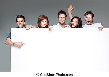 白, 友人, 広告, 板