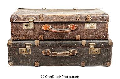 白, 古い, 隔離された, 背景, スーツケース