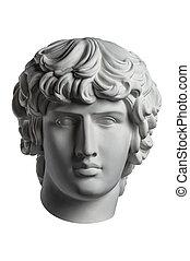白, 古代彫像, 頭, 若い, 隔離された, プラスター, 骨董品, ルネッサンス, 彫刻, face., 人, ギプス, バックグラウンド。, 有名, antinous, コピー, epoch., portrait.