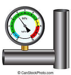 白, 圧力計, ガス, 隔離された, 背景
