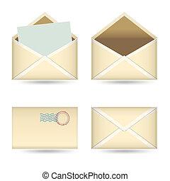 白, 型, 封筒, セット