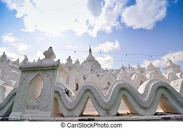 白, 塔, の, hsinbyume, paya, 寺院, mingun, マンダレイ, -, myanma